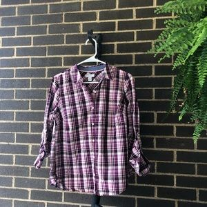 Checkered long sleeve button up